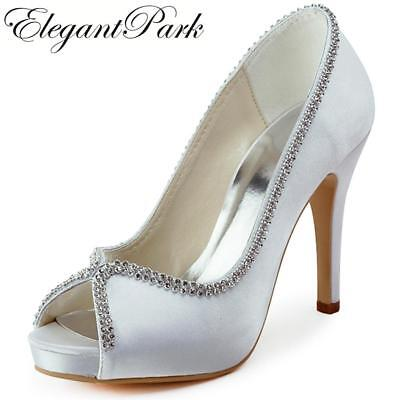Woman Wedding bridal Shoes High heel platform White Ivory silver Satin lady fema