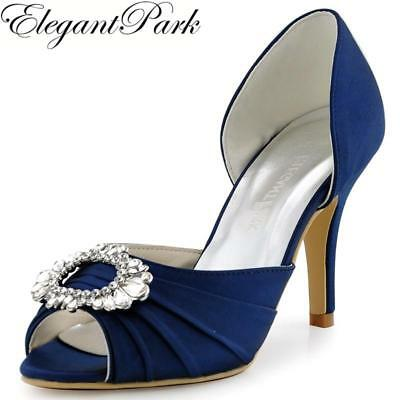 Shoes Woman A2136 Navy Blue Peep Toe High Heel Bridesmaid Pumps Rhinestone Two P