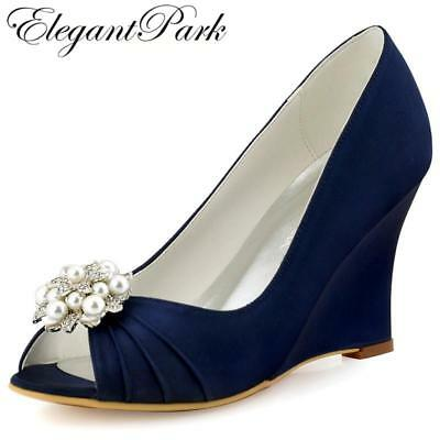 Women Wedges Peep Toe High Heel Navy Blue Ivory Pearls Clips Satin Bride Lady Br