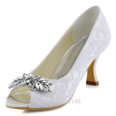Women Wedding Shoes White Ivory Mid Heels Peep Toe Rhinestones Lace Bridal Shoes