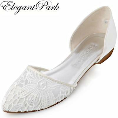 Women Lace Wedding Flats Ivory Pointed Toe Two Pieces comfortable Ballets Bride