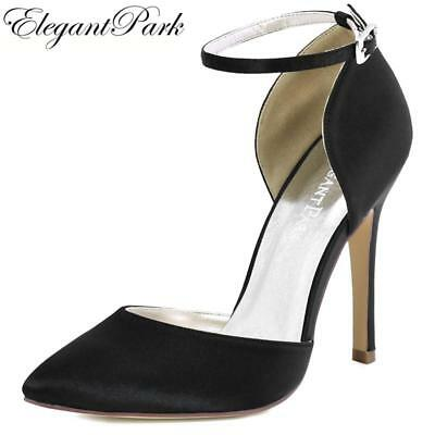 Woman Black Pointy High Heel Prom Pumps Ankle Strap Satin Bride Bridesmaids Wedd