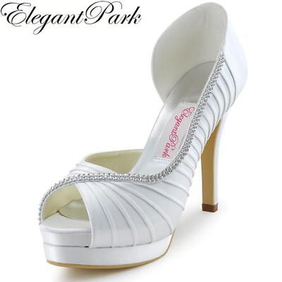 Women Shoes Wedding Bridal High Heels Platform White Ivory Peep Pleated Satin La
