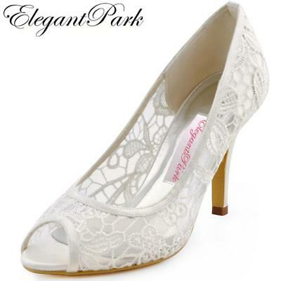 "New Woman Sexy Pumps HP1400 Ivory Peep Toe Cut outs 3.5"" Stiletto High Heel Lace"