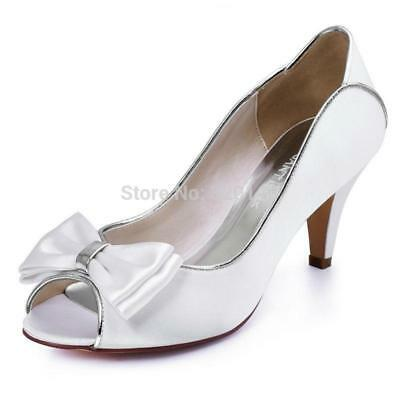 HP1606 Woman Ivory Mid Heel Wedding Shoes Size 10 Peep Toe Bows cut-out Satin La