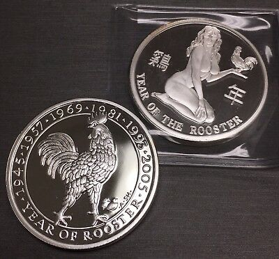 Amazing Year Of The Rooster 100 Mills .999 Silver Clad Two 1 Oz Coin!