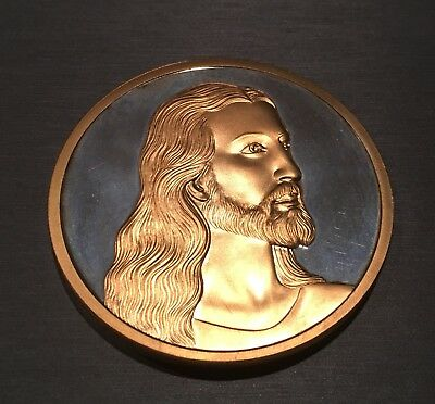 Amazing Large Jesus 24k Gold Electroplated Coin With John 15:12 On Reverse!
