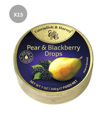 907621 8 x 200g CAVENDISH AND HARVEY PEAR AND BLACKBERRY DROPS TIN! MADE IN AUS