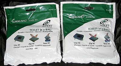 Pett Wag Bag Portable Camping Toilet Waste Kit Gel w/ Paper & Hand Sanitizer (2)