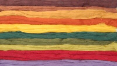 Autumn hues (brown/green/red) Merino Wool roving needle felting / hand spinning