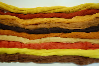 Brown hues Merino Wool dyed roving / tops - needle felting  hand spinning