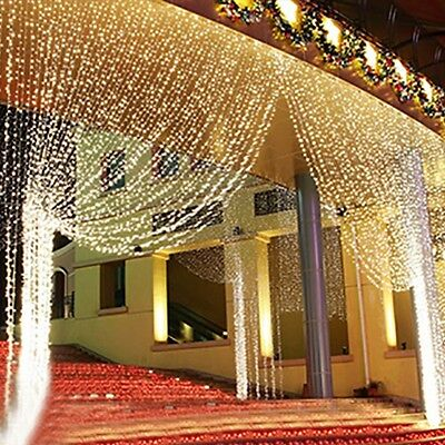 Xmas LED String Fairy Curtain Light Christmas Party Wedding Waterfall In/Outdoor