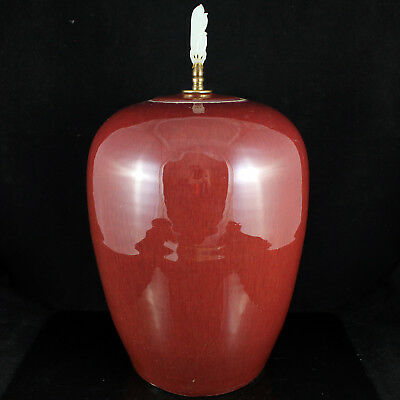 19Th Chinese Sang De Beouf Ox Blood Red Flambe Glazed Vase White Jade Final Jar