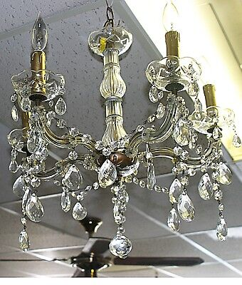 Vintage Real Cut Crystal Glass Chandelier Five lights Circa 1950s