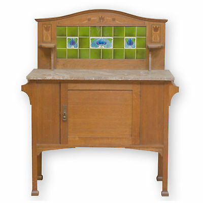 Arts & Crafts Oak, Marble and Tile Wash Stand with Tulip Motifs c. 1910