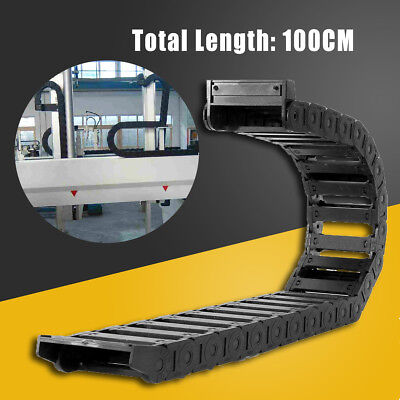 1M 1000mm (40'') Black Long Nylon PA66 Cable Drag Chain Wire Carrier 25x77mm