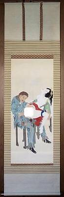 Japanese Ukiyo-e Original Painting Silk Kakejiku 583 The late 19th century