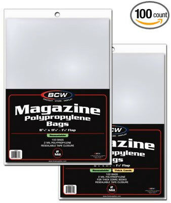 Magazine Bag Storage Organization Resealable Acid Free Sleeves Books 100 Count