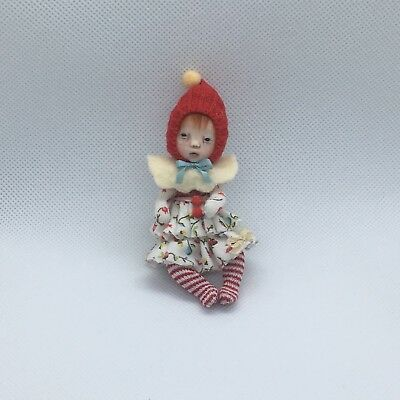OOAK, One Of A Kind Miniature TINY Elfin Girl *Little Red* *By Shell