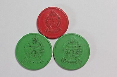 Collection of NAAFI canteen tokens Egypt red green Half penny & Farthing C.1950
