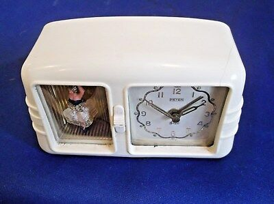 EXCELLENT WORKING NOVELTY AUTOMATON ALARM CLOCK FROM THE 1950s, THE BALLERINA +