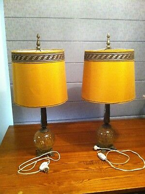 Hedco 3004 vintage optic amber glass with brass base and stem lamps
