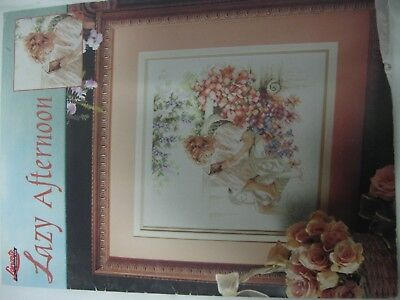 Lanarte Lazy Afternoon Girl reading book on wicker chair Cross Stitch Chart