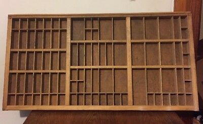 89 SectionAntique Drawer Printer Tray letterpress typeset wood shadow box curio