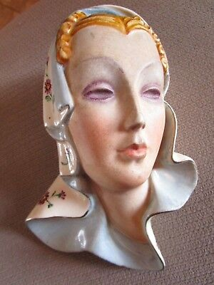 Vintage Lenci Style Hand Painted Art Deco Face Mask   Signed