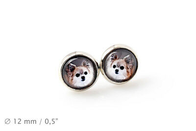 Chihuahua Long Haired. Pet in your ear. Earrings. Photojewelry. Handmade. CA