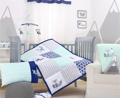Little Haven Little Explorer 5-Piece Cot Set - Navy/Mint