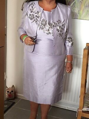 Condici Wedding/mother of bride Lilac Beaded Silk Dress And Jacket Size 20