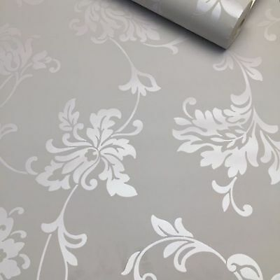 Victorian Damask  Feature Wallpaper Roll | Silver and Grey | UK Company 134103