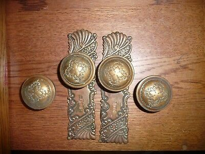 antique brass door knob Ornate 4 knobs and 2 Large back plate 8 by 2""