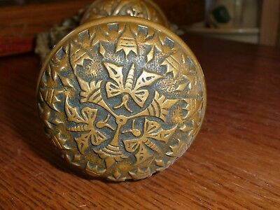 antique Butterfly brass door knob Ornate 2 knobs an spindle