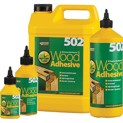 502 ALL PURPOSE WEATHERPROOF WOOD ADHESIVE GLUE EVERBUILD 125ml -5 LITRE