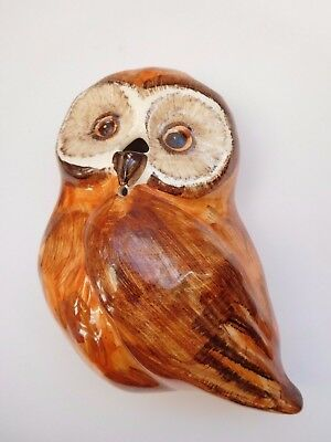 Babbacombe Pottery Owl string & scissor holder Hand decorated wall hanging