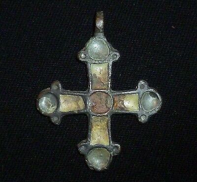 Knights Templar BRONZE CROSS  with ENAMEL - Amulet / Pendant Circa 1100 AD -5841