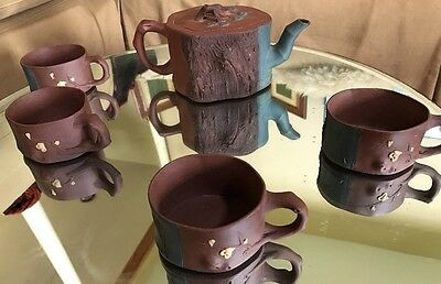 Chinese Brown & Blue Clay Tree Scene Yixing Zisha Zini Teapot & 4 Cups Marked