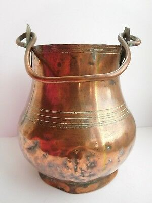 1800s copper ghee pot with copper swing handle small foot & band of lines