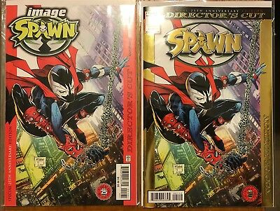 SPAWN #1 25TH ANNIVERSARY DIRECTORS CUT GOLD FOIL and Regular Cover Set IMAGE