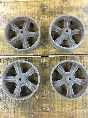 """Set Of 4 Cast Iron Wheels, 135mm (5 3/8"""") for Industrial furniture"""
