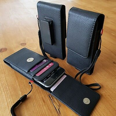 3 Card Slot 360 Swivel Clip leather Belt Holster Case Holder Huawei Xiaomi Nokia