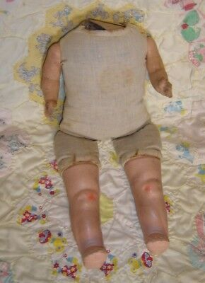 """14"""" composition and cloth doll body no head, nonworking crier"""