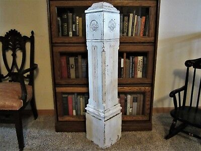Shabby Tiger Oak Stair Case Way Newel Post Chic Victorian Column Primitive Carve