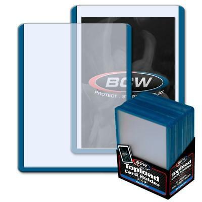 25 BCW 3 x 4 TOPLOAD BASEBALL TRADING CARD HOLDERS BLUE BORDER HARD PROTECTORS