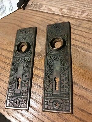 "Rare Pair Antique Victorian Eastlake Door Knob Plate Cover Key Hole 5.5"" Ornate"