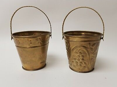 "Brass Pail Bucket lot of 2  with handles covered with grapes leaves 2"" set"