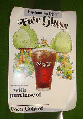 Vintage Coca Cola GLASS Promo Poster Coke Collectors MUST L@@K