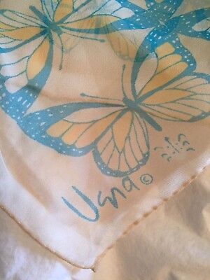 Vintage Silk Scarf Wrap VERA Beautiful Butterfly Pastel Yellow Blue Sheer 25""